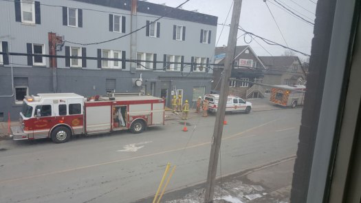 Emergency Services checking building for  gas leak