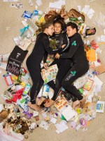 Susan, Curtis and Brittany surrounded by seven days of their own rubbish in Pasadena, California. (Photo by Gregg Segal/Barcroft Media)