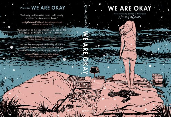 We Are Okay by Nina LaCour front and back cover spread