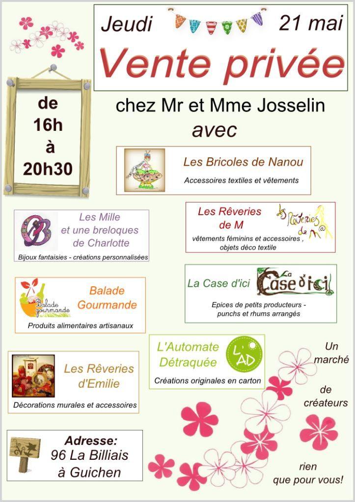 affiche vente privée 21 juin à Guichen