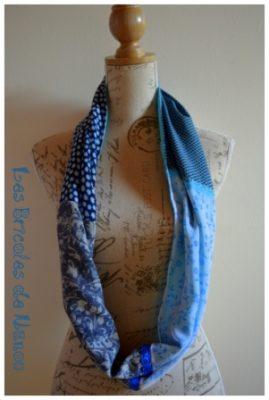 tour de cou patchwork 4 tissus bleu