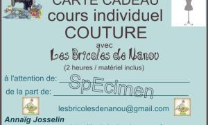 Carte cadeau cours de couture individuel 2 heures specimen