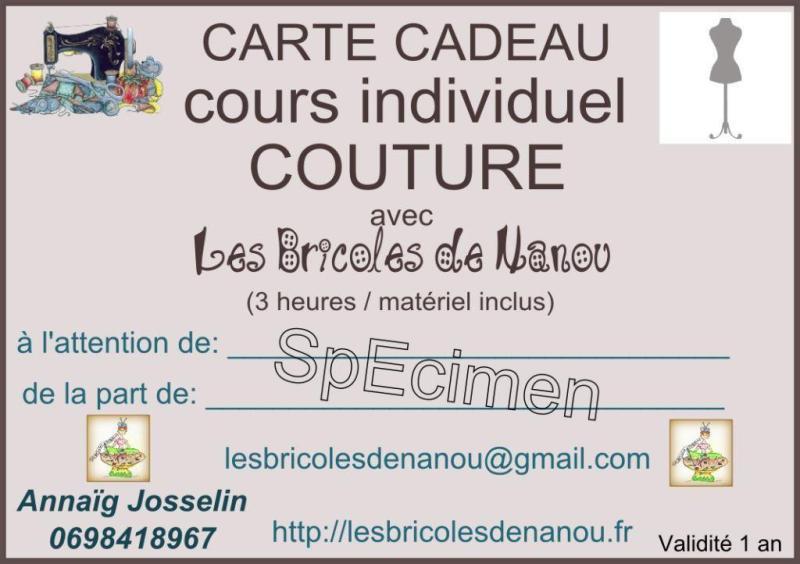 Carte cadeau cours de couture individuel 3 heures specimen