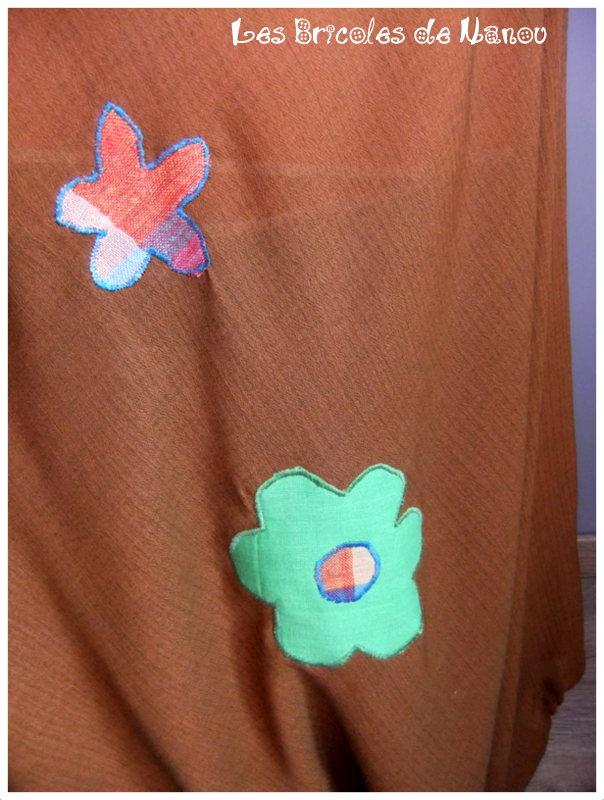 Sarouel jeans et lin orangé à fleurs