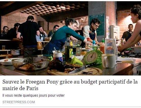 """StreetPress a relayé l'appel au vote pour """"sauver"""" le Freegan Pony."""