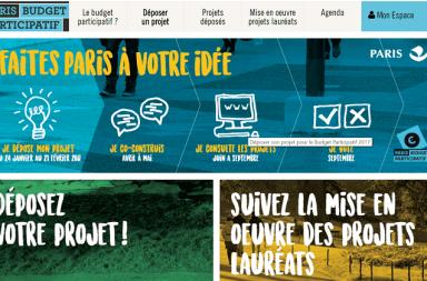 Capture d'écran du site 2017 du budget participatif de la Mairie de Paris