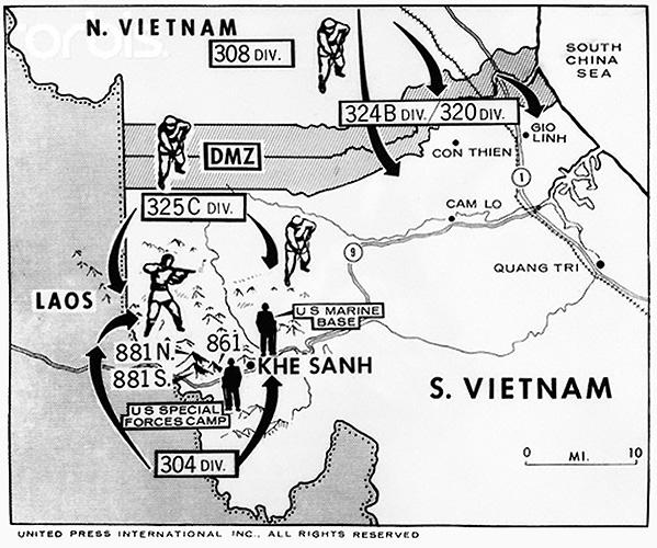 Map of North and South Vietnam