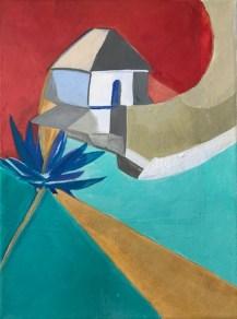 Le Moulin, acrylique sur toile, format 18x24. Création 2016. Inspiration du Moulin de Bréhat très stylisé et de couleurs vives ; une agapanthe, symbole de l'île, complète la composition.