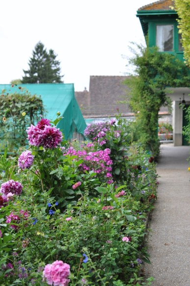 Allée rose dans les jardins de Monet à Giverny