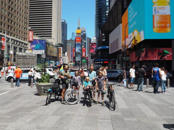 A vélo de passage à Times Square