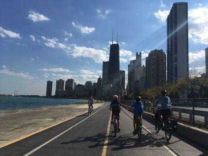 Puis balade à vélo le long du lac Michigan