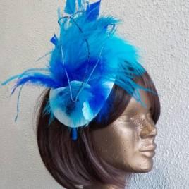 parure de tête -bibi- plumes bleues