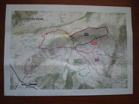 Carte circuits randonnée Lesches