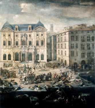 Michel Serre, Vue de l'hôtel de Ville pendant la peste, Huile sur toile, musée des Beaux-Arts, Marseille