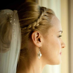 Wedding hair style with braid and veil updo. Les Ciseaux St. Armands