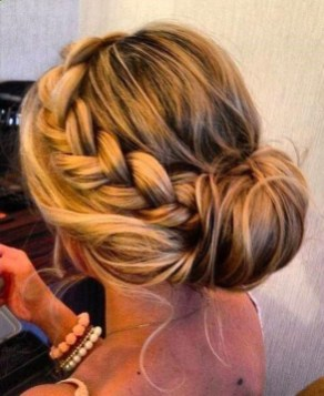 Bride hairstyle updo with braid by Les Ciseaux St. Armands