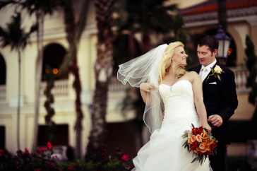 Bride and Groom at Ringling Museum. Hair and make up by Les Ciseaux St. Armands