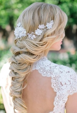 Beach Wedding Brides hair half updo curls and braid by Les Ciseaux St. Armands