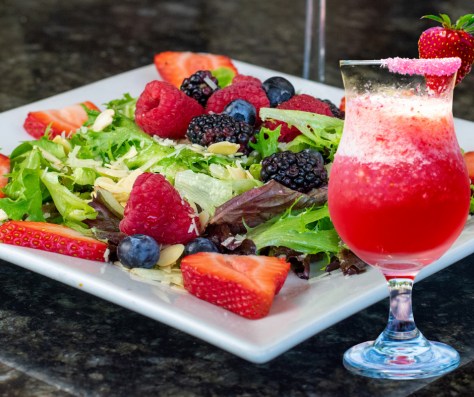 Summer Berry Salad paired with our Frosé, a frozen Rosé wine cocktail