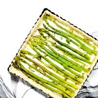Tarte salée - Asperges vertes, Chèvre & Basilic - Pâte aux flocons d'avoine et aux graines