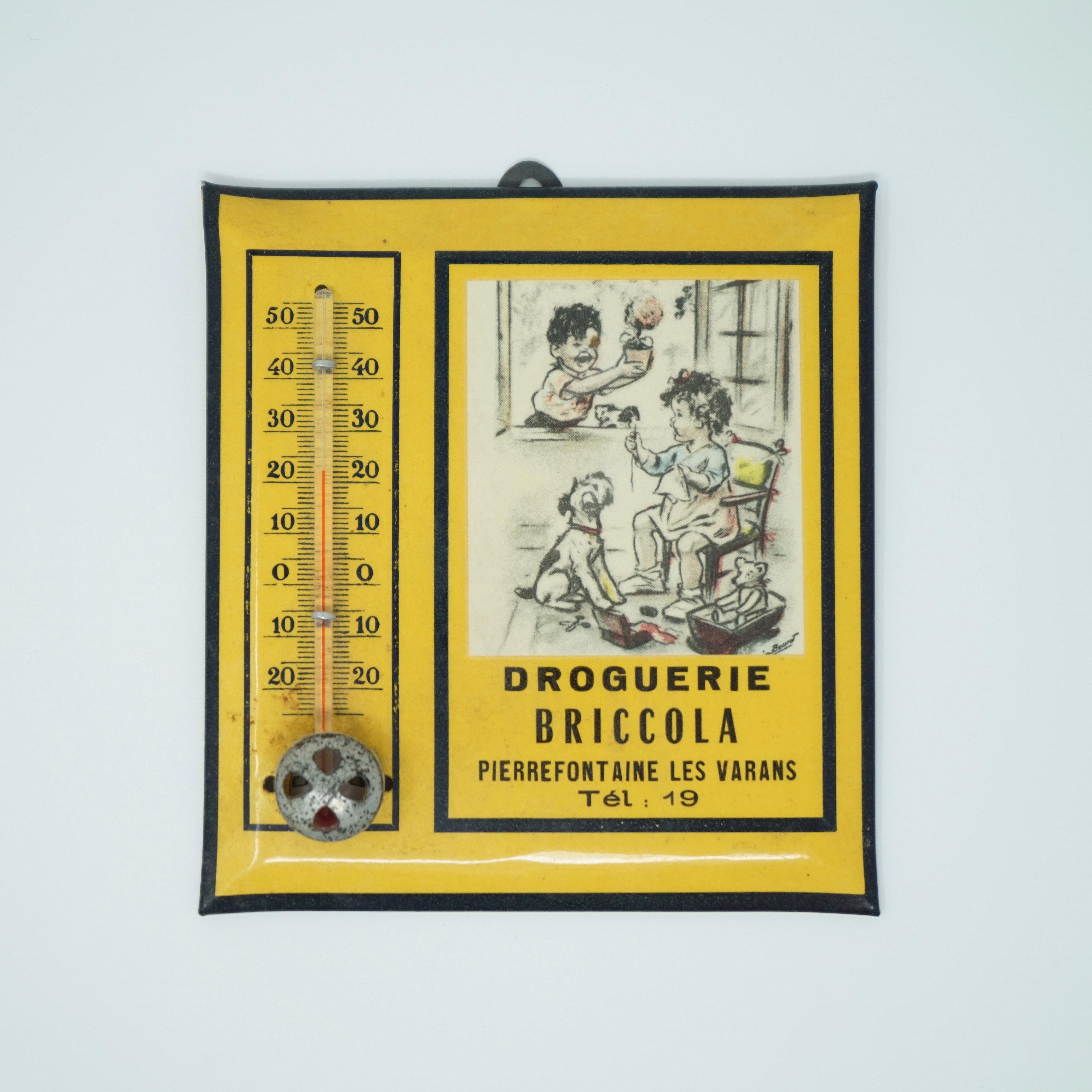 Plaque Thermomètre Publicitaire de la Droguerie Briccola