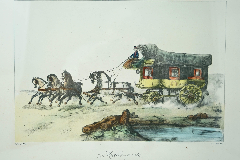 Lithographie Malle-Poste de Victor J Adam