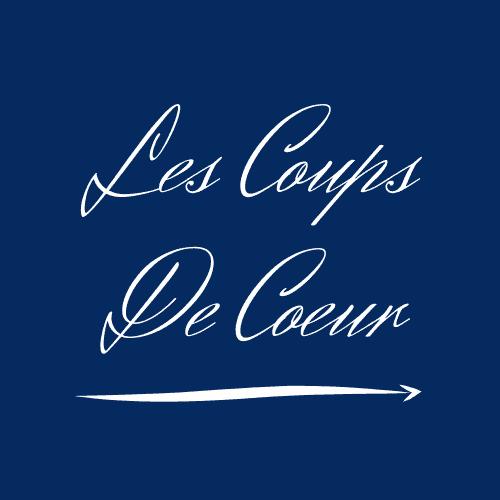 Logo - Les Coups de Coeur (Texte Manuscrit Blanc sur Fond Bleu Marine)