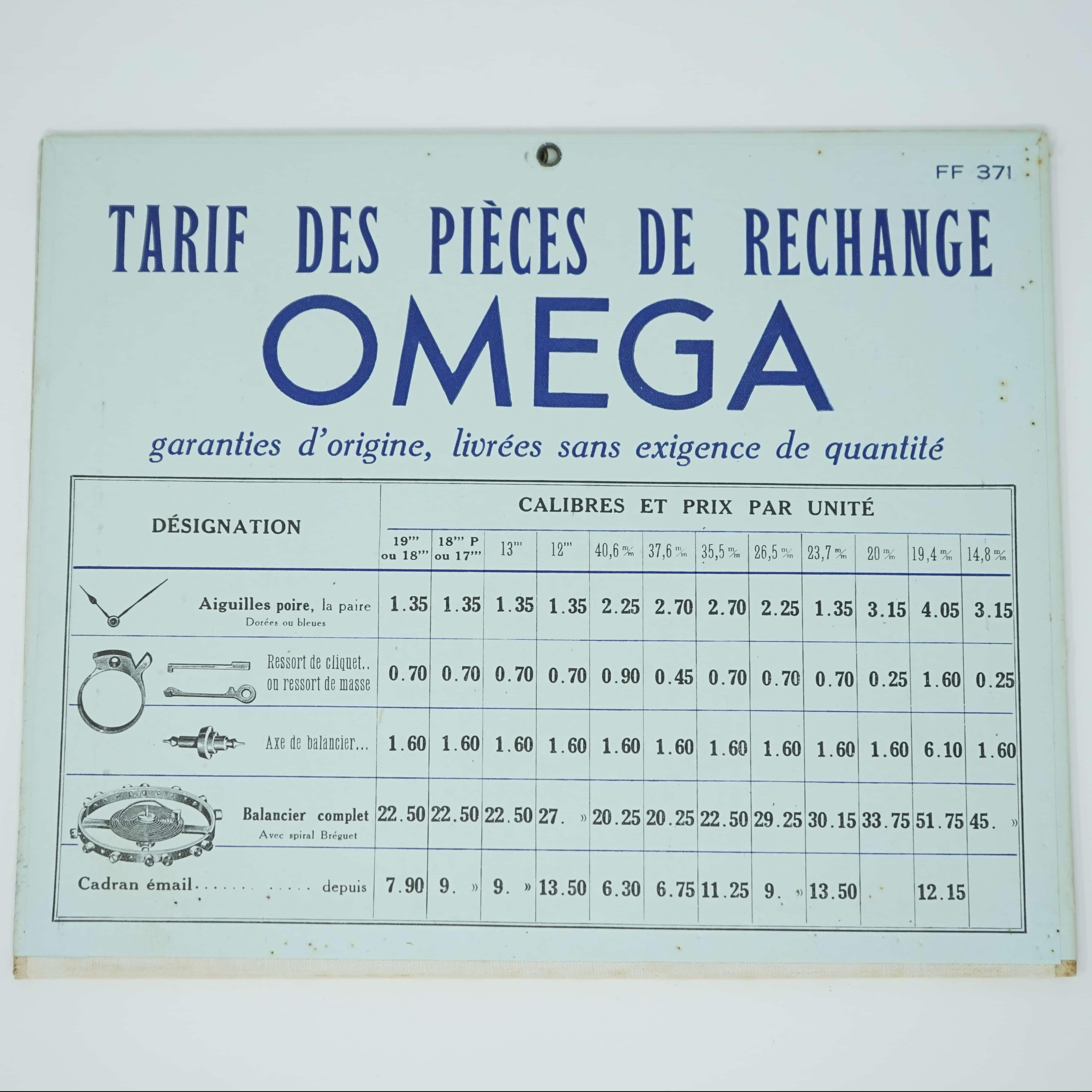 Plaquette de Fournitures Omega