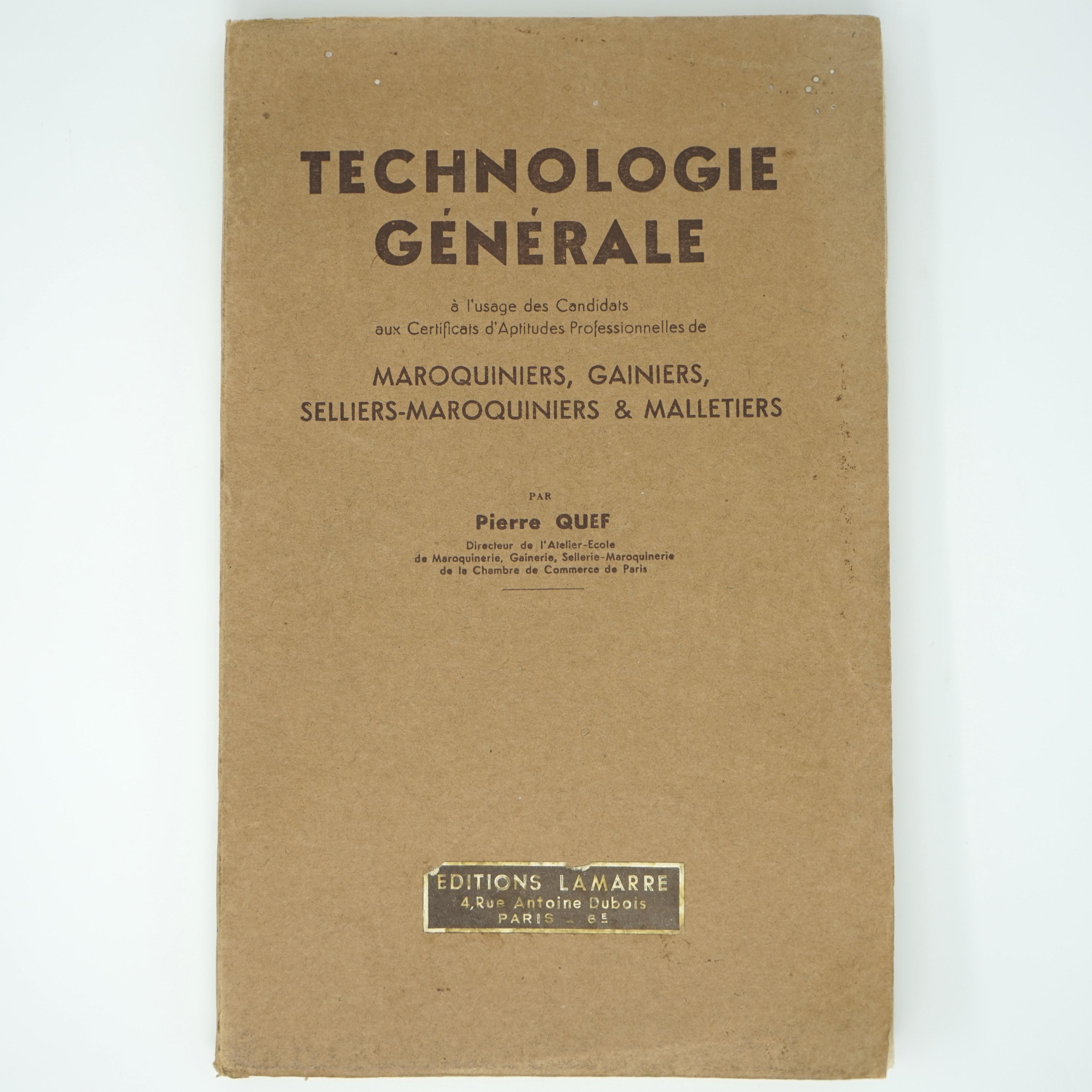 Livre Technologie Générale Maroquiniers