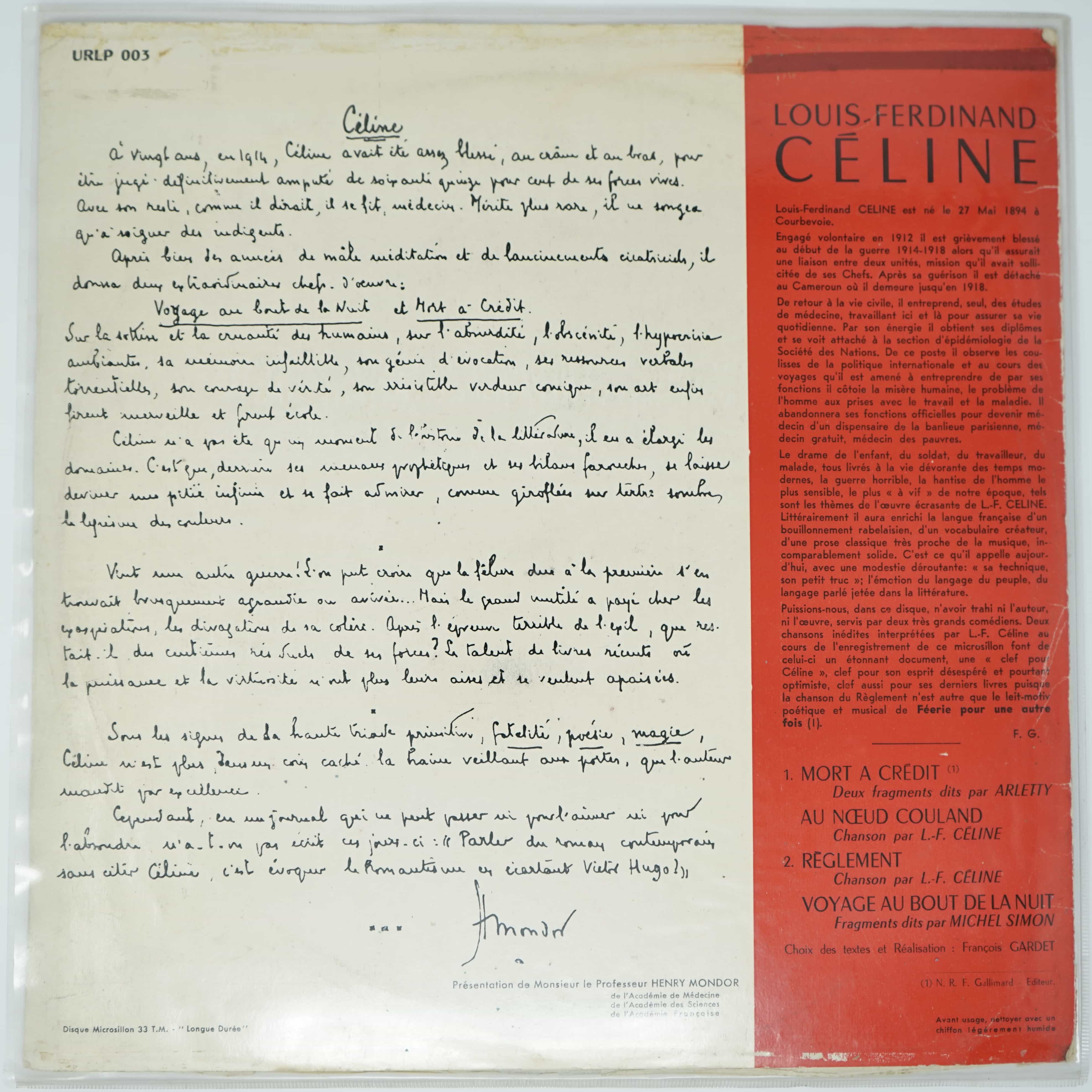 Vinyle Louis Ferdinand Céline Dos