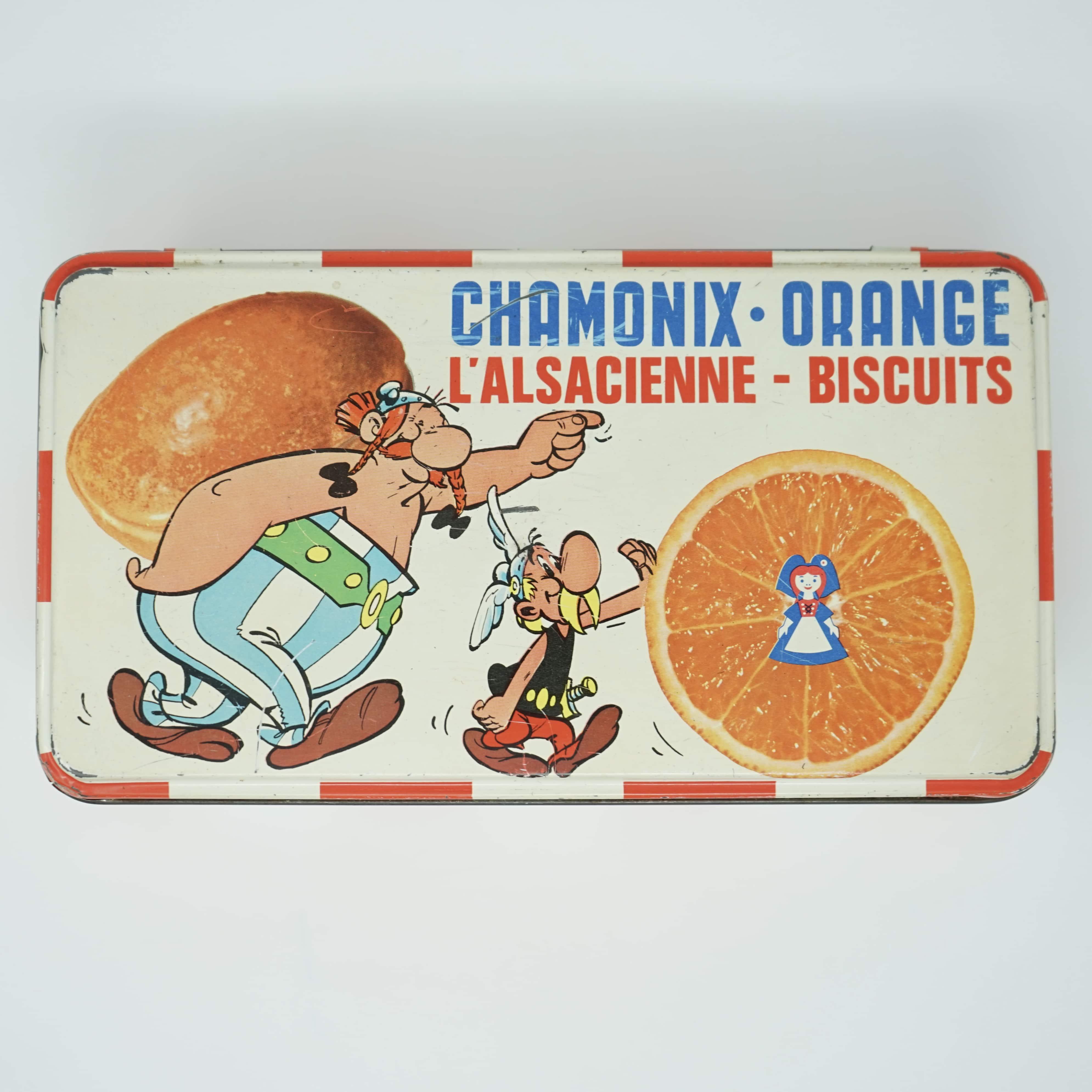 Boîte Publicitaire Astérix et Obélix Chamonix Orange L'Alsacienne Biscuits