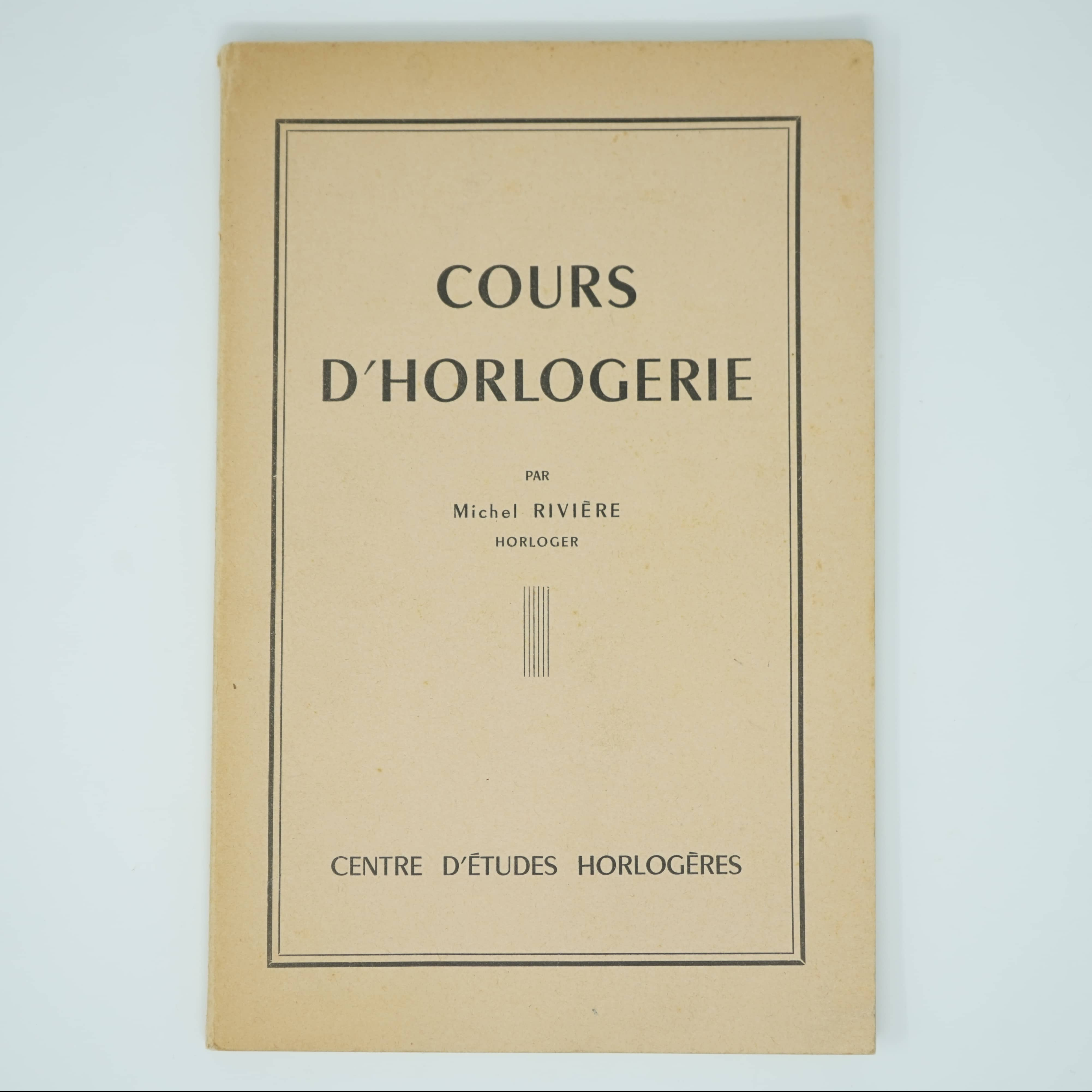 Livre Cours d'Horlogerie couverture