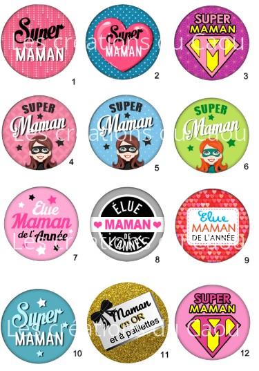 Images pour petits cadeaux maman : magnet, badge, miroir, porte-clés, marque-page.