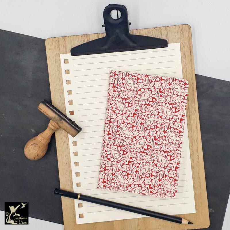 carnet A6 papier italien rouge et blanc fleur arabesque