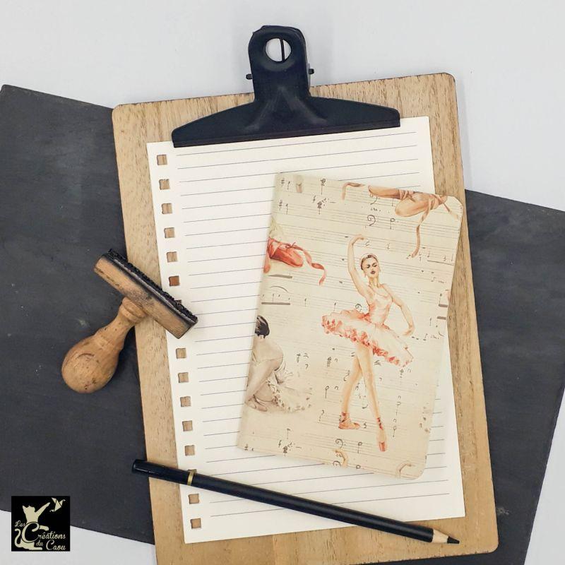 carnet A6 papier italien beige rose tendre ballerine danseuse