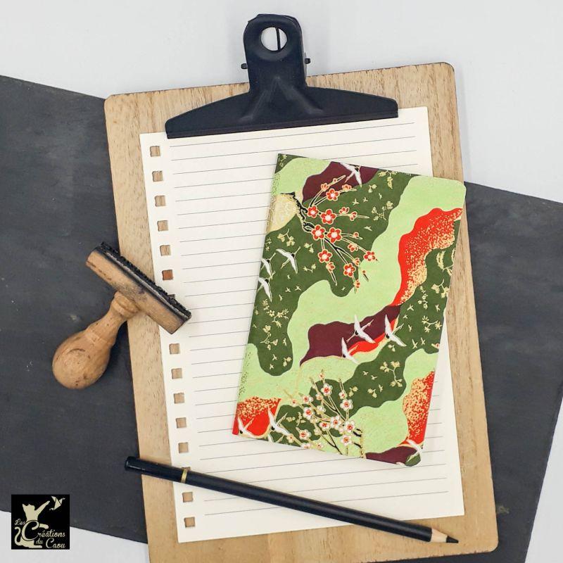 carnet A6 japonais grues rouge vert bordeaux