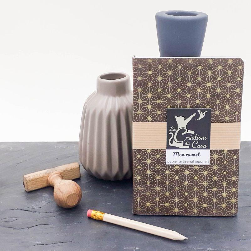Carnet A6 - Motif étoilé Asanoha - chocolat et or
