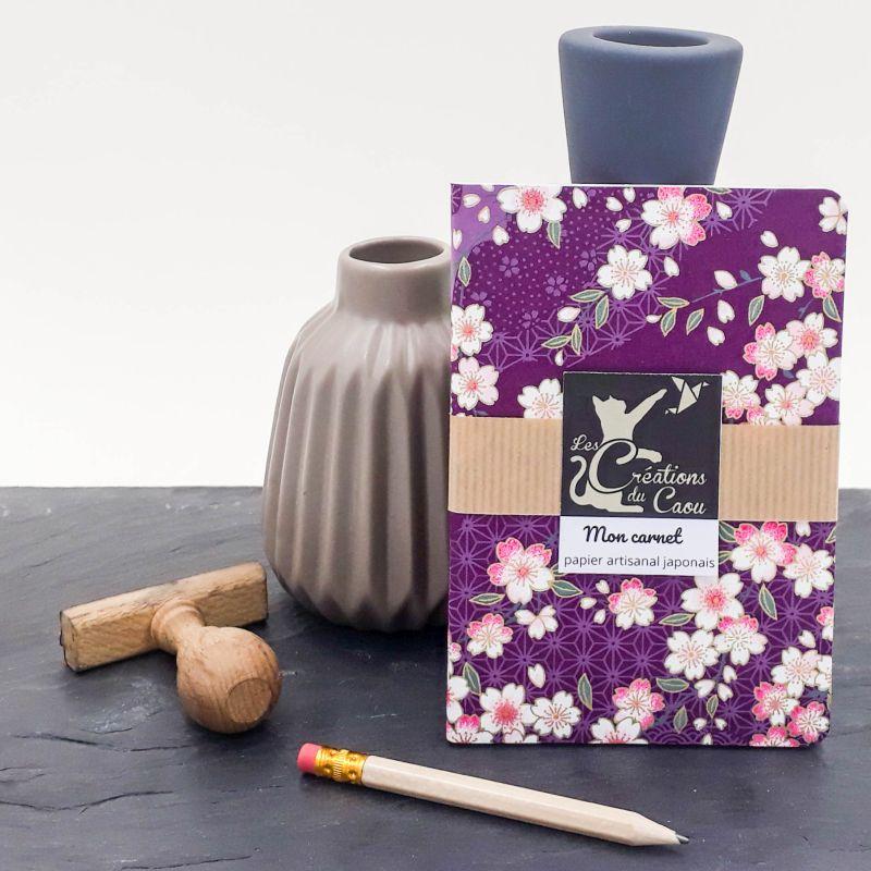 carnet A6 japonais sakura violet cerisier