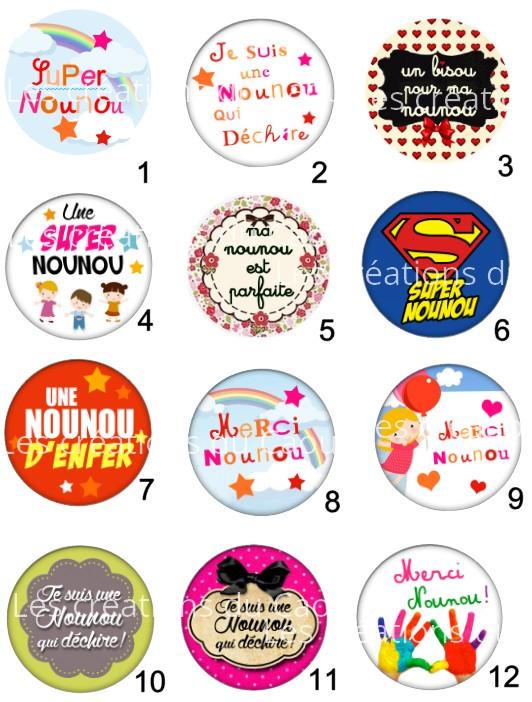 Images pour petit cadeau pour les nounous : magnet, miroir, porte-clés, décapsuleur, badge, marque-page.