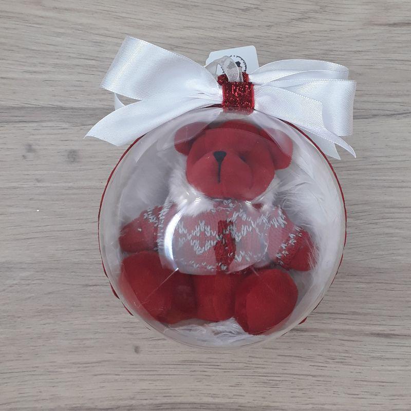 Grande boule décorée à la main. Motif : boule peluche ours rouge