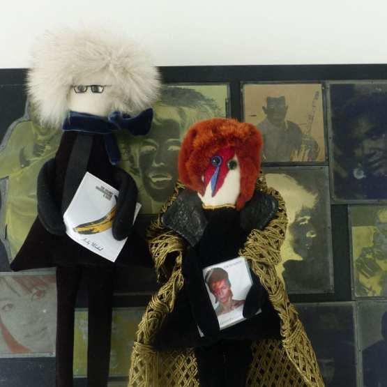 Andy Wahrol et David Bowie, Pop art Pop rock, artists, poupées collector. Fred Petit