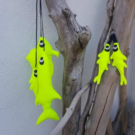 Pêche décorative de trois poissons, poissons tissus, créations textiles , Fred Petit