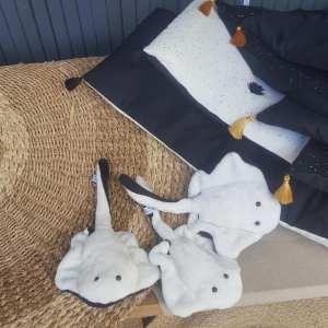 courtepointes black & white et petites raies black & white, créationstextiles, petites séries, made in France, Frédérique Petit