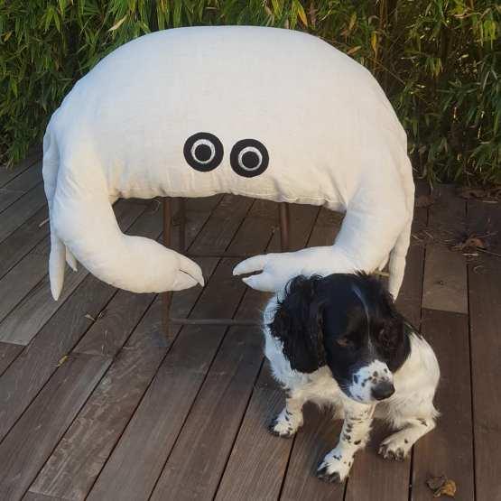 gros crabe pouf lin ancien et le chien