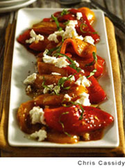 Roasted Pepper Salad with BAsil and Goat Cheese