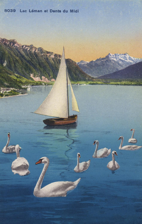 Carte postale, Lac Léman et Dents du Midi