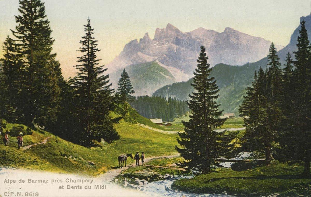 Carte postale. Alpe de Barmaz près Champéry et Dents du Midi