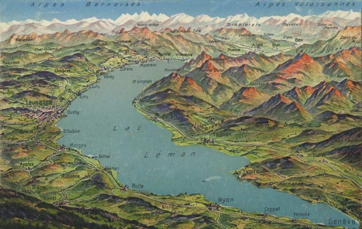 Carte postale, Alpes bernoises et Alpes valaisannes