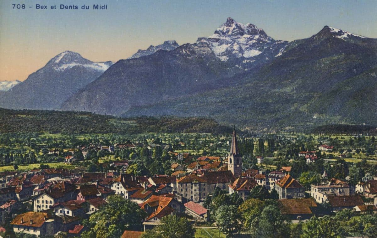 Carte postale. Bex et Dent du Midi