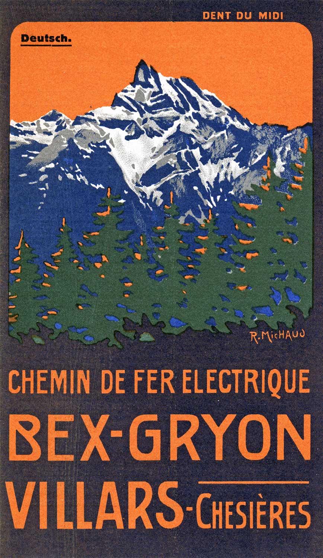 Affiche. Chemin de fer Bex-Gryon-Villars